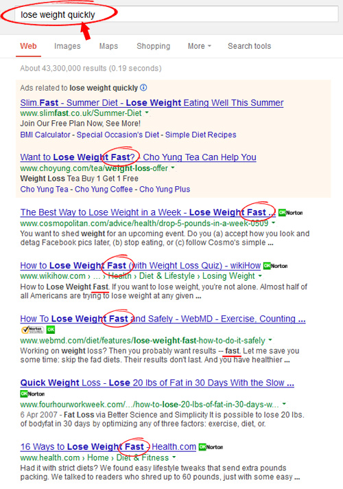 lose weight quickly search